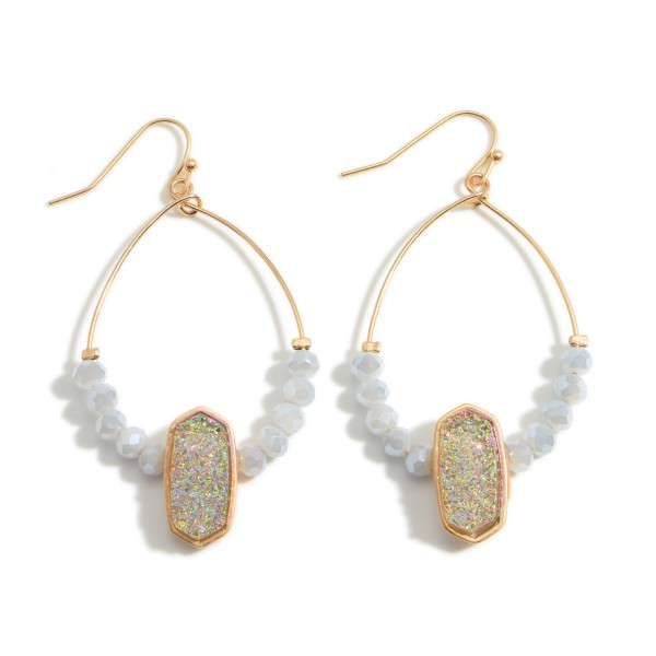 """Beaded Drop Earrings Featuring Druzy Accents.   - Approximately 2.5"""" Long"""