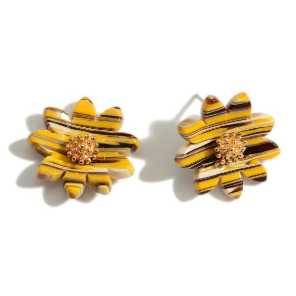 "Acetate Sunflower Stud Earrings.   - Approximately 1"" in Diameter"