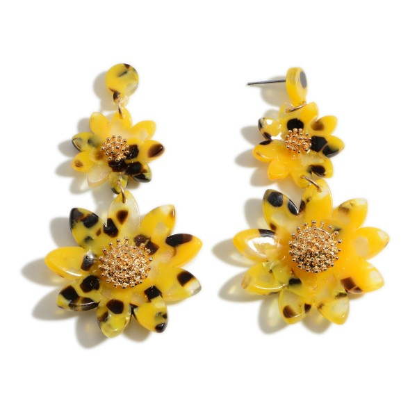 "Acetate Sunflower Drop Earrings.   - Approximately 2.75"" Long"