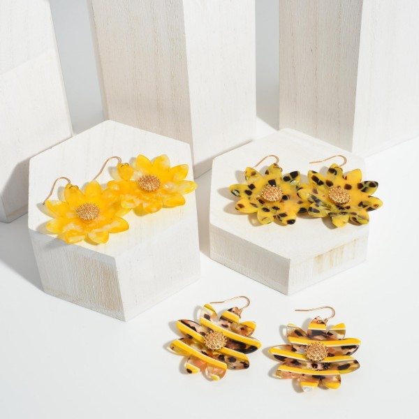 """Acetate Sunflower Statement Earrings Featuring Gold Details.   - Approximately 2.5"""" Long"""