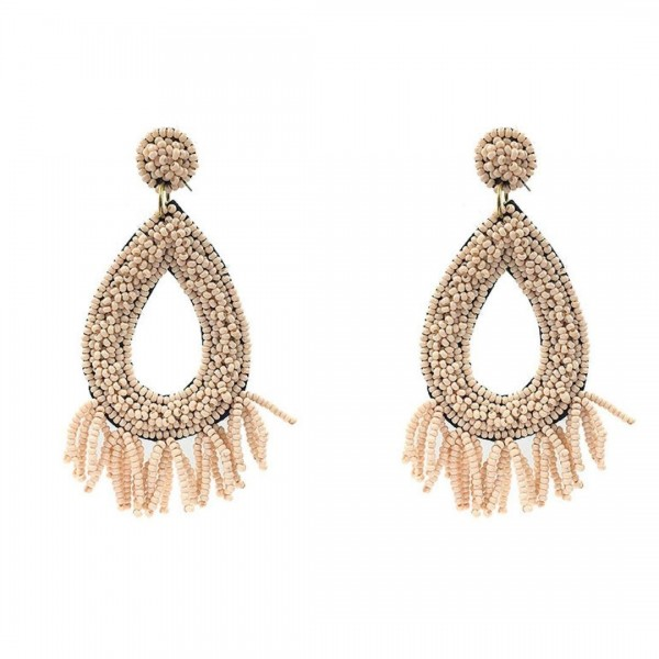 "Beaded Tear Drop Earrings Featuring Beaded Tassel Accents.   - Approximately 3"" in Length"
