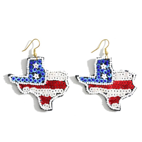 "Texas Shaped Patriotic Sequin Earrings.   - Approximately 3"" in Length"