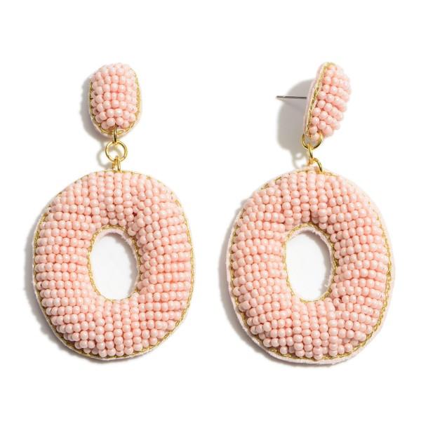 "Oval-Shaped Beaded Drop Earrings.   - Approximately 3"" Long"