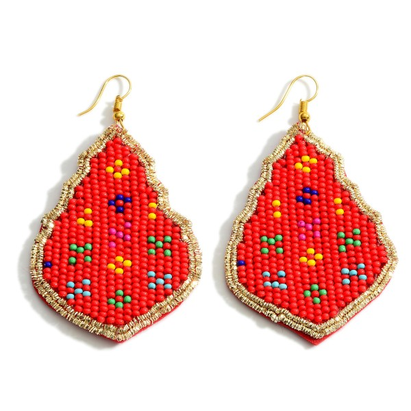 """Beaded Drop Earrings Featuring Multicolor Details.   - Approximately 3"""" Long"""