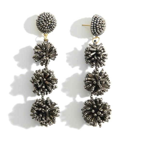 "Beaded Drop Earrings.   - Approximately 3"" in Length"