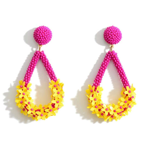 """Beaded Tear Drop Earrings Featuring Floral Accents.   - Approximately 3"""" in Length"""
