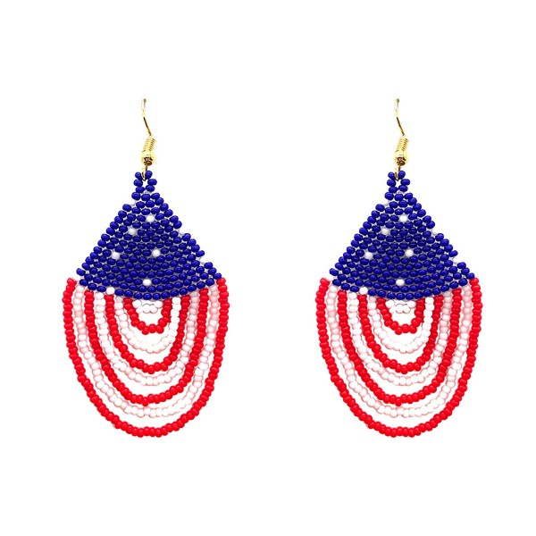 "Patriotic Themed Beaded Drop Earrings.   - Approximately 3"" Long"