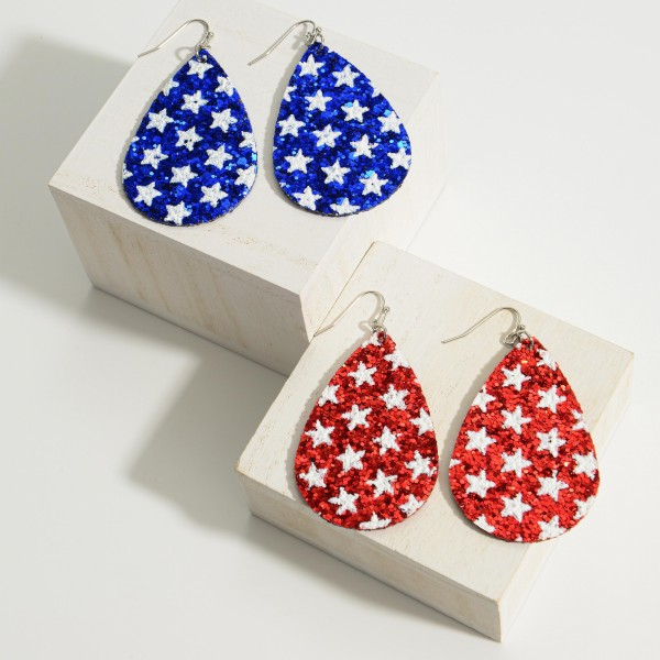 "Patriotic Themed Glitter Star Double Sided Earrings.   - Approximately 3"" in Length"