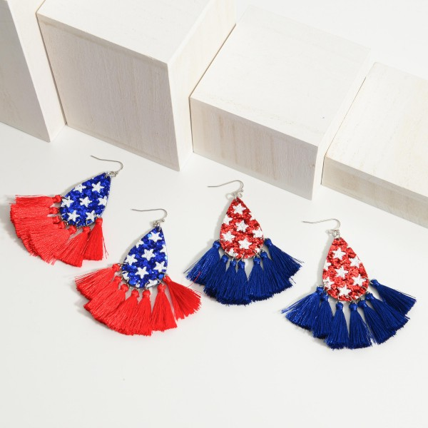 "Patriotic Themed Sequin Tear Drop Earrings Featuring Tassel Accents.   - Approximately 3"" in Length"