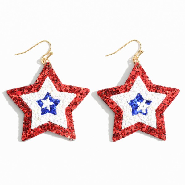 "Patriotic Themed Glitter Star Earrings.   - Approximately 2.5"" in Length"