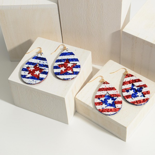 "Stars & Stripes Patriotic Themed Glitter Earrings.   - Approximately 2'5"" in Length"