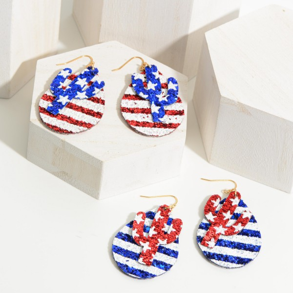 "USA Themed Teardrop Earrings Featuring Cactus Accents.   - Approximately 3"" Long"