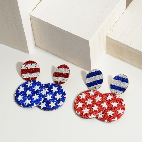 "Stars & Stripes Patriotic Themed Glitter Earrings.   - Approximately 2"" in Length"