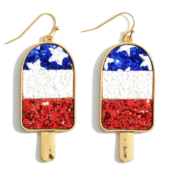 "USA Themed Glitter Popsicle Earrings.   - Approximately 2.5"" in Length"