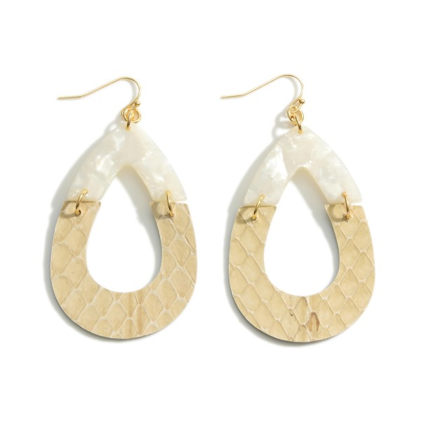 """Teardrop Earrings Featuring Resin and Leather Accents.   - Approximately 3"""" in Length"""