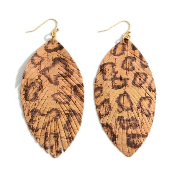"Animal Print Cork Drop Earrings.   - Approximately 3.5"" Long"