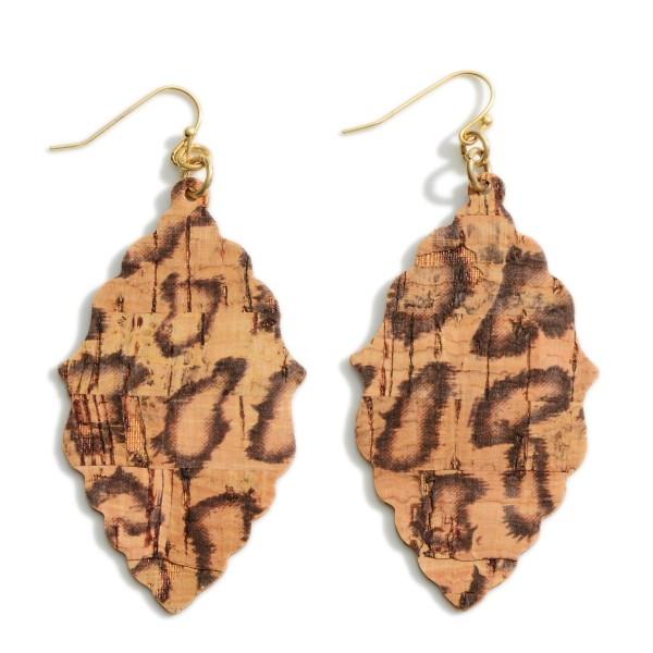 "Set of Animal Print Cork Drop Earrings.   - Approximately 3"" Long"