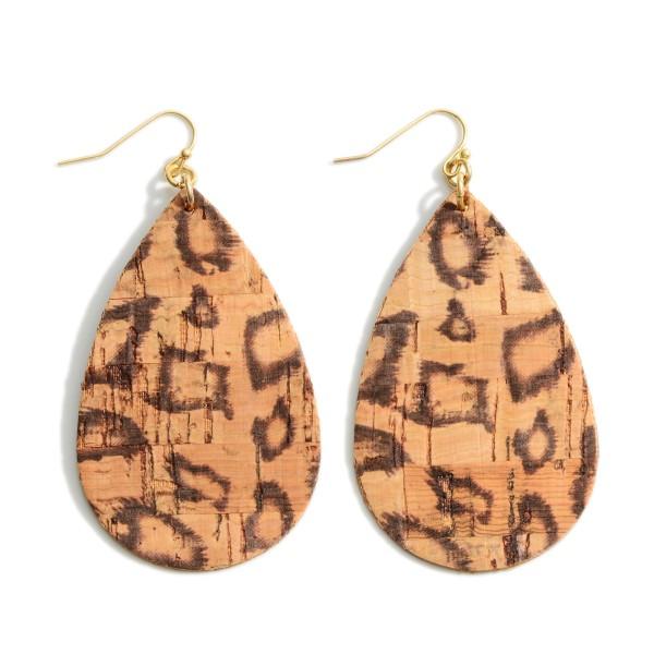 """Teardrop-Shaped Animal Print Cork Earrings.   - Approximately 3"""" Long"""
