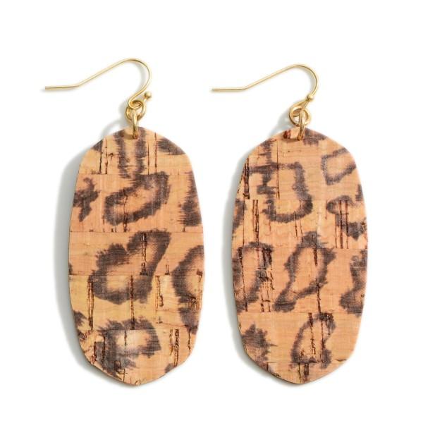 "Oval-Shaped Animal Print Cork Drop Earrings.   - Approximately 2.5"" Long"