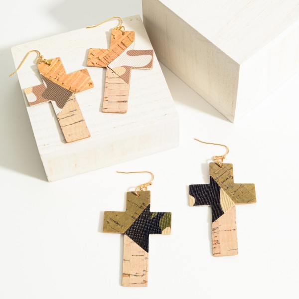 "Leather Mosaic Cross Earrings.   - Approximately 2.5"" L"