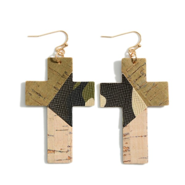 """Leather Mosaic Cross Earrings.   - Approximately 2.5"""" L"""