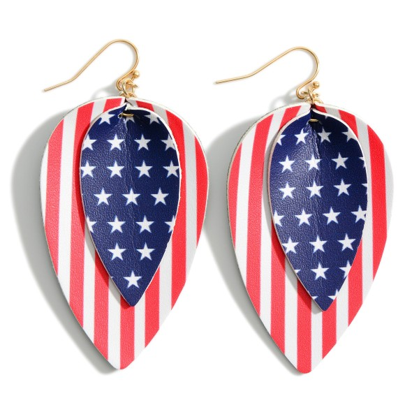 """Leather Earrings Featuring USA Flag Pattern.   - Approximately 2.5"""" Long"""