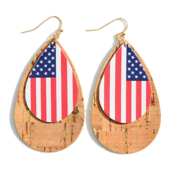 """Leather Earrings Featuring a USA Flag Pattern and Cork Accents.   - Approximately 3"""" in Length"""