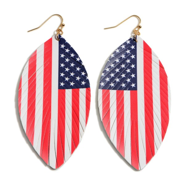 "Feathered Leather Earrings Featuring a USA Flag Pattern.   - Approximately 3"" in Length"