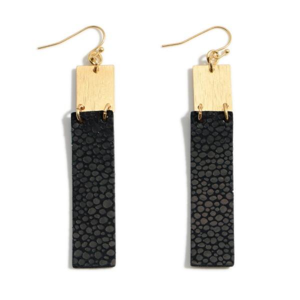Wholesale metal Drop Earrings Faux Leather Details Long
