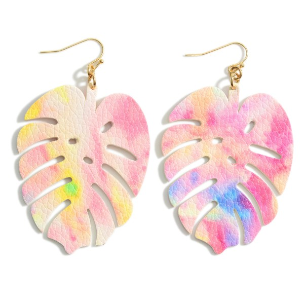 "Tie Dye Print Leather Leaf Earrings.   - Approximately 3"" in Length"