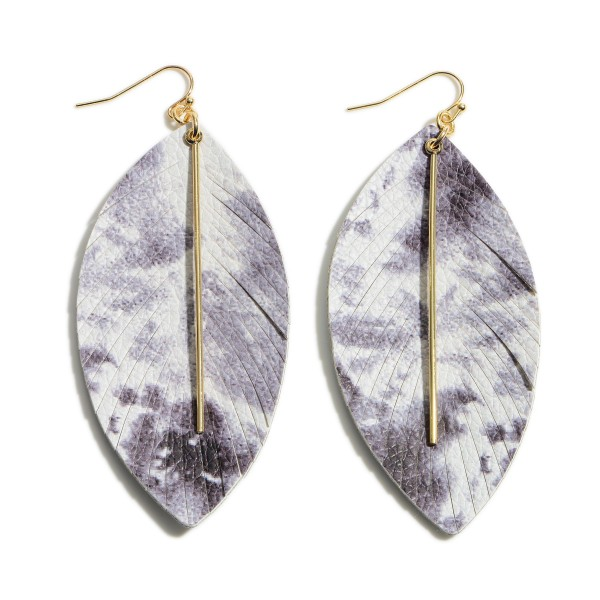"Feathered Leather Tie-Dye Drop Earrings Featuring Gold Accents.   - Approximately 3.5"" Long"