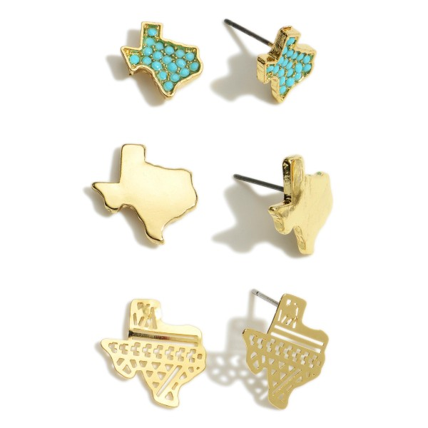 Set of Three Pairs of Texas Pride Earrings Featuring Beaded and Filigree Accents.   - Beaded Texas Stud Earrings Approximately 6mm in Diameter - Solid Gold Studs Approximately 7mm in Diameter  - Filigree Studs Approximately 8mm in Diameter