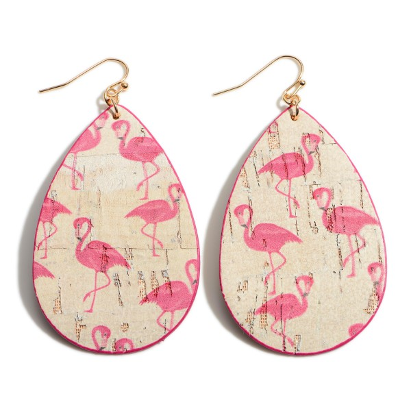 """Cork Teardrop Earrings Featuring Flamingo Accents.   - Approximately 3"""" Long"""