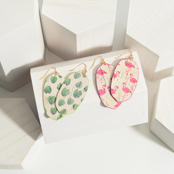 """Oval-Shaped Cork Drop Earrings Featuring Flamingo Print Accents.   - Approximately 3"""" Long"""
