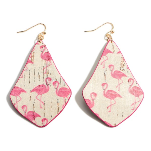 """Cork Drop Earrings Featuring Flamingo Accents.   - Approximately 3"""" Long"""