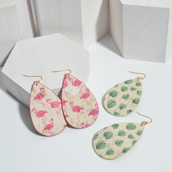 """Cork Teardrop Earrings Featuring Tropical Leaf Accents.   - Approximately 3"""" Long"""