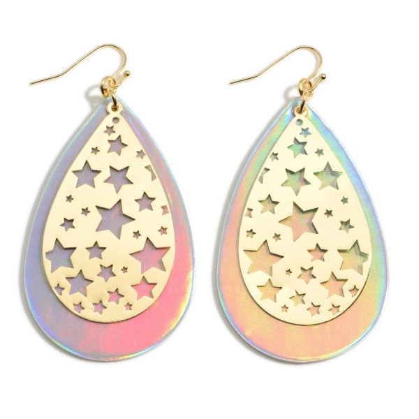 """Long Iridescent Teardrop Earrings Featuring Metal Star Filigree Accents.   - Approximately 3"""" Long"""