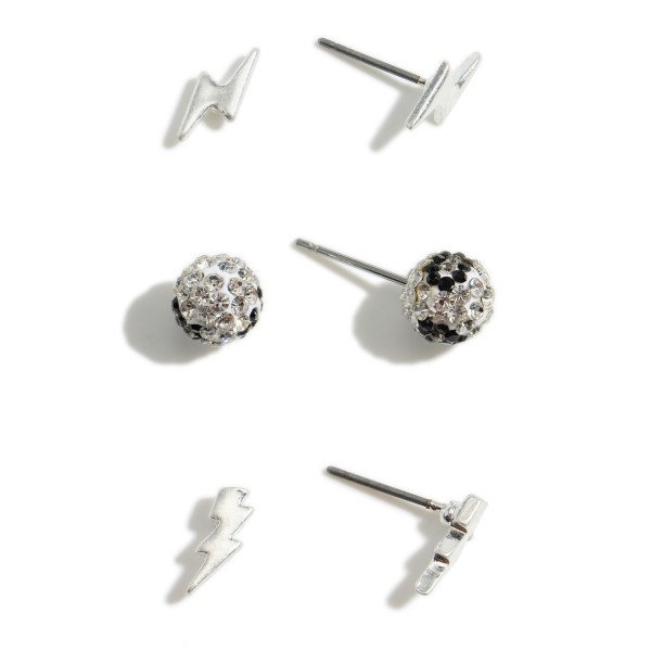 "Set of Three Pairs of Lightning Bolt Stud Earrings.   - Both Pairs of Lightning Bolt Stud Approximately 1/2"" Long - Rhinestone Studs Approximately 4mm in Diameter"
