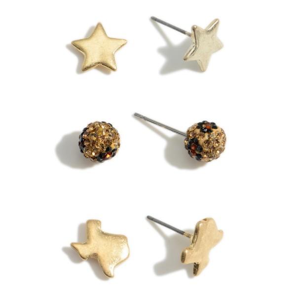 "Set of Three Pairs of Texas Stud Earrings.   - Texas Studs 1/2"" Long  - Rhinestone Studs Approximately 4mm in Diameter - Star Studs Approximately 1/2"" Long"