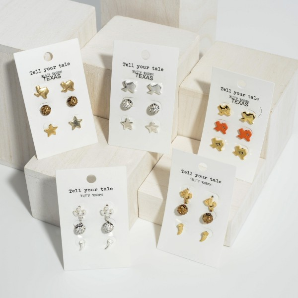 "Set of Three Pairs of Western Stud Earrings.   - Cactus Studs 1/2"" Long  - Rhinestone Studs Approximately 4mm in Diameter - Bull Horn Studs Approximately 1/2"" Long"