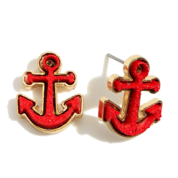 """Anchor Shaped Druzy Stud Earrings.   - Approximately 1/2"""" in Diameter"""