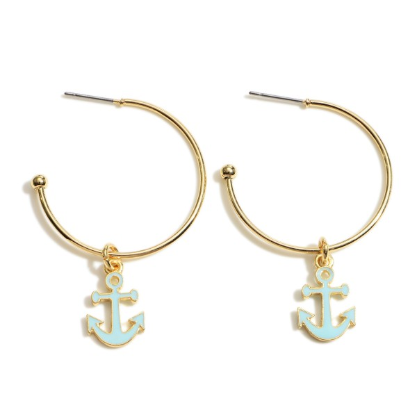 "Gold Hoop Earrings Featuring Anchor Accents.   - Approximately 1"" in Diameter"