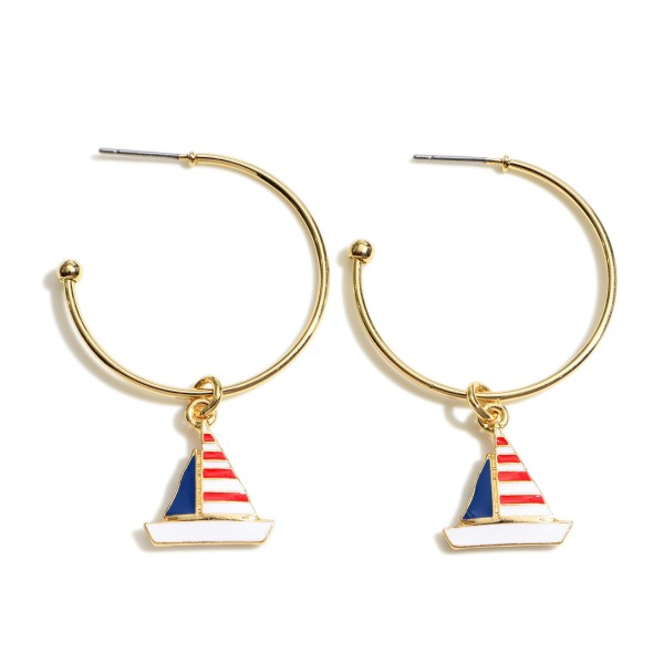 "Gold Hoop Earrings Featuring Sailboat Accents.    - Approximately 1"" in Diameter"