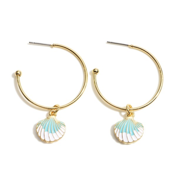 "Gold Hoop Earrings Featuring Seashell Accents.   - Approximately 1"" in Diameter"