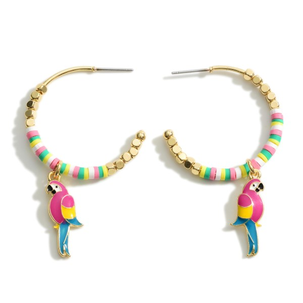 """Hoop Earrings Featuring Heishi Bead Details and Parrot Accents.   - Approximately 2"""" Long"""