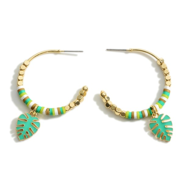 """Hoop Earrings Featuring Heishi Bead Details and Leaf Accents.   - Approximately 2"""" Long"""