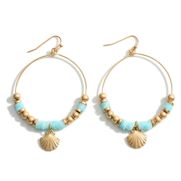 """Round Drop Earrings Featuring Heishi Bead Details and Seashell Accents.   - Approximately 3"""" in Length"""