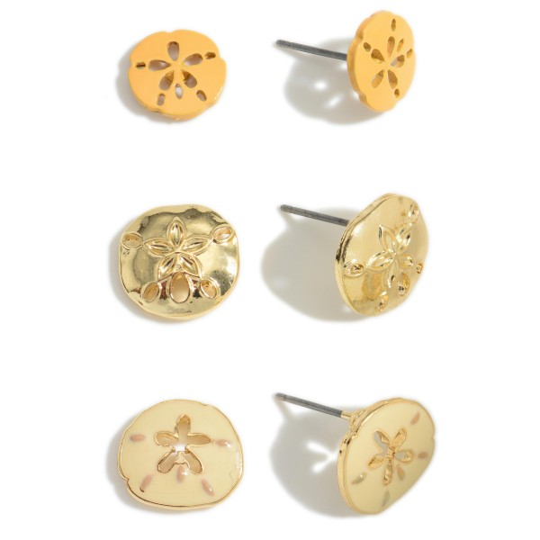 """Set of Three Pairs of Sand Dollar Stud Earrings.   - All Sand Dollar Studs Approximately 1/2"""" in Diameter"""