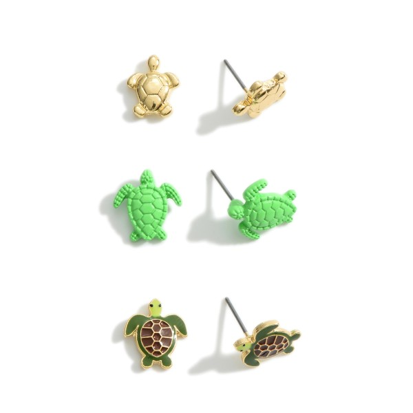 Set of Three Pairs of Sea Turtle Stud Earrings.   - Approximately 5mm in Diameter