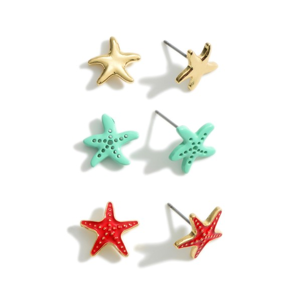 Set of Three Pairs of Starfish Stud Earrings.   - Approximately 5mm in Diameter